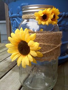 Fall Bridal Shower Ideas Decoration Centerpieces Ideas For 2019 Sunflower Centerpieces, Mason Jar Centerpieces, Wedding Centerpieces, Sunflower Decorations, Sunflower Party, Sunflower Baby Showers, Sunflower Wedding Favors, Sunflower Vase, Rustic Wedding Favors