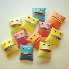 Monster Coin Purse in Neon Colorblock by WoollyMammothDesign, $10.00