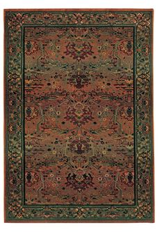 Justice Traditional Rust Red/Green Area Rug