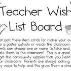 FREEBIE!  This is a great way to involve parents in gathering needed supplies for your classroom community!  They just grab an item from the wish list board ...