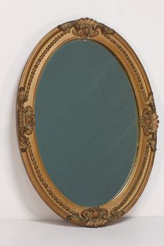 Art Nouveau Styled Decorative Oval Vintage Wall Mirror Heavy Gilt Frame