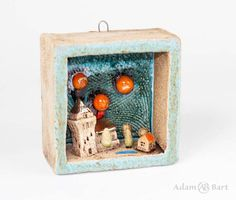 Ceramic Diorama wsith tiny village / Small Houses / Miniature