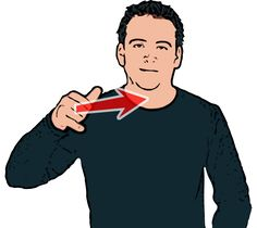 Aeroplane/Plane - Thumb and little finger of primary hand extended with palm facing downwards. Hand starts in front of body and moves up at an angle across body. (BSL/British Sign Language).