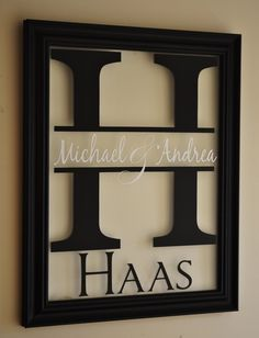 Personalized Family Name Sign Picture Frame Wall Sign 13x16 overall size by mrcwoodproducts (38.00 USD)