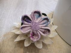 Floral Kanzashi Ponytail holder Handmade by AFlowerforRose on Etsy, $5.95