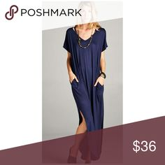 EMERY Dress Navy !! Cute maxi dress with pockets and straps. Very cute and versatile Sizes available S, M, L  Material is rayon and spandex Boutique quality   Measurements Boutique  Dresses Maxi
