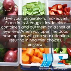 An organized fridge will help you make healthier choices! Organized Fridge, Fridge Organization, Healthy Living Tips, Fruits And Veggies, Healthy Choices, Healthy Lifestyle, Nutrition, How To Make, Food