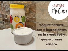 Yogurt natural con solo 2 ingredientes (crock pot), yogurt griego y queso crema / Amando mi Casa - YouTube Crockpot, Soap, Personal Care, Bottle, Natural, Youtube, 2 Ingredients, Cream Cheeses, Recipes