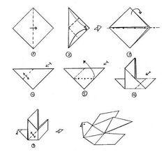 Lavoretti di Pasqua: origami e coniglietti - Schema della colomba