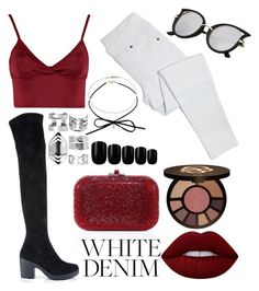 """""""deep red sea"""" by daddy-allahu-akbar ❤ liked on Polyvore featuring Lipsy, Miss Selfridge, Boohoo, Elegant Touch, tarte, Lime Crime and Judith Leiber"""