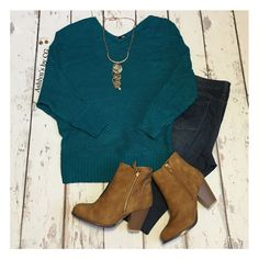 """""""Always My Style"""" V Neck Dolman Sleeve Teal Sweater Top"""