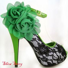 Green Black Peeptoe Ankle Strap Party Pumps UK Size 4.5 | eBay