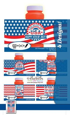Fourth of July Patriotic 4oz Bubble Bottle Wrappers  by HoneyBops $7.95 #bubble #bottle #bubblebottle #wrapper #label #Fourth #of #July #4th #Independence #Day #patriotic #America #American #flag #stars #and #stripes #USA #printable #digital #PDF #instant #download #God #Bless #sweet #land #of #liberty #the #fireworks #DIY #digital #Let #Freedom #Ring #Proud #to #be #an #land #free #Liberty #Justice #for #all #red #white #blue