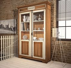 Collection Clara Display Cabinet with two doors with wire netting and four adjustable wooden shelves. www.casanobile.it Made in Italy