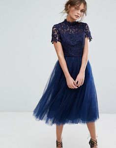 Shop Chi Chi London High Neck Lace Midi Dress With Tulle Skirt at ASOS. High Neck Lace Dress, Midi Dress With Sleeves, Lace Midi Dress, Tulle Dress, Navy Dress, Navy Blue Cocktail Dress, Midi Cocktail Dress, Navy Blue Bridesmaid Dresses, Prom Dresses