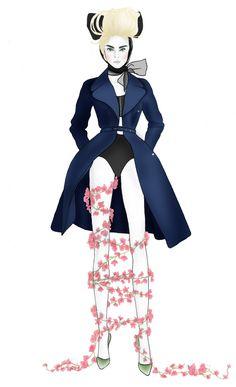 Fashion Illustration 'That Coat' by Rebecca Elliston aka BeckiBoos