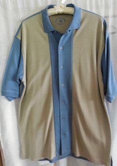 Nat Nast Camp Shirt Sz L Blue Tan Silk Cotton  #NatNastLuxuryOriginals #ButtonFront