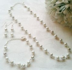 White  Silver Bridesmaid Jewelry Set Pearl by InfinityByClaire, £12.00