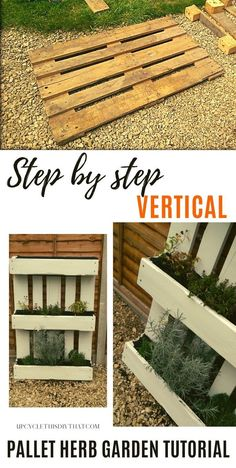 if you're looking to make your own vertical pallet herb garden then this step by step tutorial is perfect for those who are unsure how to start. With our materials list and detailed instructions on where exactly each piece should go, this DIY Pallet garden project will be easy as pie! Build it, plant it and enjoy fresh herbs every day even without having a big garden. Herb Garden Pallet, Pallets Garden, Diy Pallet Projects, Garden Projects, Pallet Ideas, Garden Steps, Side Garden, Diy Upcycled Decor, Garden Chairs
