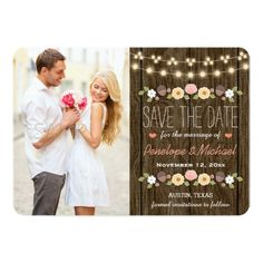 Sunflower Wedding Save the Date Cards Blush String of Lights Rustic Save the Date Card