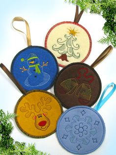 In-the-Hoop Vintage Christmas Ornaments