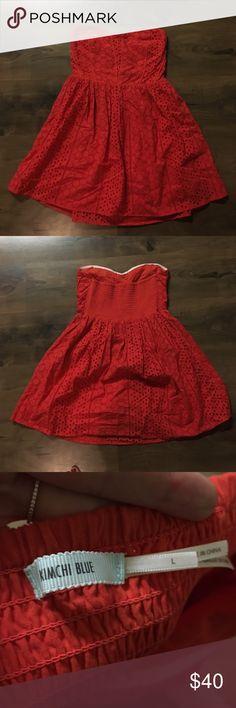 Coral strapless mini dress Lace coral mini dress.  Strapless with elastic bust. Like new Kimchi Blue Dresses Mini