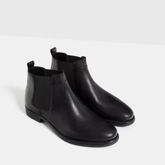 Image 2 of BLACK LEATHER CHELSEA BOOTS from Zara