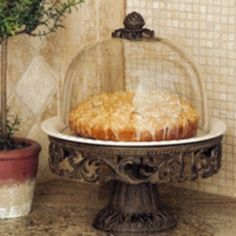 GG Collection Cake Pedestal Stand Plate & Dome Gracious Goods Tuscan Free Ship #GGCollection