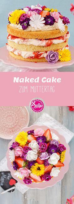 Passend zum Muttertag, eine wunderschöne Erdbeer-Rhabarber-Torte mit essbaren Blumen!