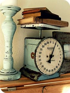 .Really like the vintage aqua blue scale. Vintage painted plus natural wood. LOVE