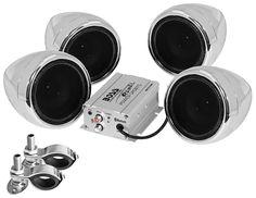 Boss Audio 600 Watt Bluetooth Amp 2 Speakers with Mounts. Adjustable Mounting Brackets to fit Handlebars or ATV racks. Bluetooth Amp, Boss Audio, Look Good Feel Good, Loudspeaker, Accessories Store, Motorcycle Accessories, Safari, Stuff To Buy, Radios