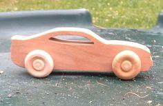 Wooden toy Chevy Camaro Car, Handmade on a scroll saw, cherry wood