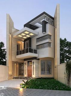 For many living in a modern house is of great importance. The house is a part of art, it is a three-dimensional sculpture,' he states. Modern Small House Design, Modern Villa Design, Cool House Designs, Exterior Wall Design, Facade Design, Architecture Design, Bungalow House Design, House Front Design, 3d Home