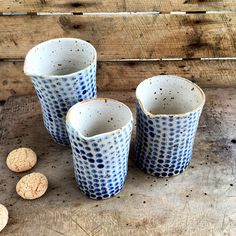 New unique pitchers are waiting to find a new home. They are wheel thrown and every blue dot is hand painted one by one #pollipots #pitcher #tabletop #bluewhite #pottery
