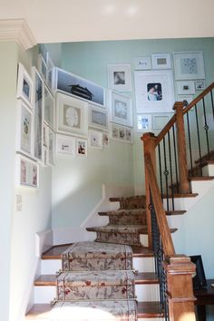 gallery wall up the stairs..... totally mismatched??