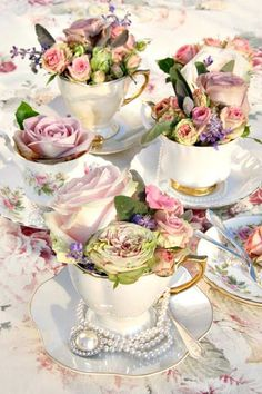 Vintage Tea Cups with Pretty Florals & Jewels as Sweet Little Centerpiece Ideas for a Tea Party Bridal shower Tea Party Bridal Shower, Tea Party Wedding, Wedding Cakes, Spring Wedding, Wedding Favors, Afternoon Tea Parties, Afternoon Tea Wedding, Deco Floral, Deco Table