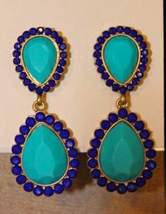 Aqua and Navy Blue Earrings, To DIE For <3