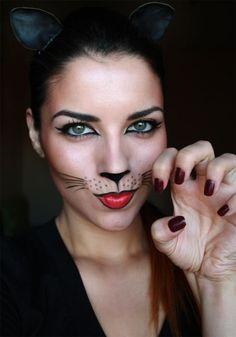 cool black cat makeup halloween simple - Google Search