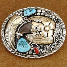 Navajo Sterling Silver Gold Sleeping Beauty Turquoise Bear Claw Belt Buckle, http://www.nativeamericanstuff.net/Navajo%20Handcrafted%20Belt%20Buckles%20page-2.htm