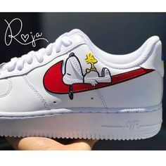 This limited / hype custom Nike Air Force One shoe is handmade and hand painted with acrylic paints (it is both a men's and women's sneaker, a unisex sneaker and a perfect birthday gift or purchase… Dr Shoes, Cute Nike Shoes, Cute Nikes, Cute Sneakers, Hype Shoes, Vans Shoes, Veja Sneakers, Shoes Sneakers, Jordan Shoes Girls