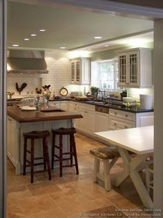 Country Picnic Table, Wood Island Top - Designer Kitchens LA #25 (DesignerKitchensLA.com, Kitchen-Design-Ideas.org)