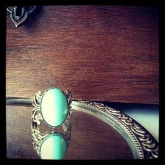 Vibrant glass antique Turquoise stone in filigree by SkeletonCameo, $13.00