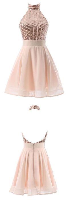 Excellent Prom Dresses Backless Halter Sequins Short Prom Dresses,Backless Mini Homecoming Dresses,Cocktail Dresses