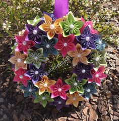 Origami kusudama paper flower wreath! This beautiful Origami Flower Wreath would be a stand out on your front door!! This could be used as a centerpiece, candle decor or used as party decor. This would also be the perfect gift for that someone special! The possibilities are endless!
