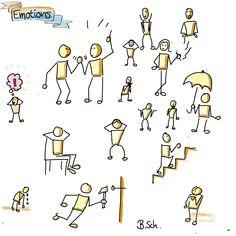 Figuren | Bernd Schüssele Emotional Drawings, Visual Note Taking, Stick Figure Drawing, Sketch Notes, Cool Sketches, Stick Figures, Doodle Art, Doodle Drawings, Design Thinking