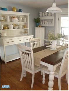 Dining Room - Love the white hutch, shelves, the dark walnut country table top & the hardwood floors. Change the hanging light and it's a perfect room. Dining Room Furniture, Dining Room Table, White Furniture, Furniture Design, Painted Furniture, Dining Set, Chair Design, Dining Rooms, Design Design