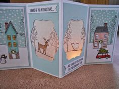 White Christmas holiday home scene tealight card