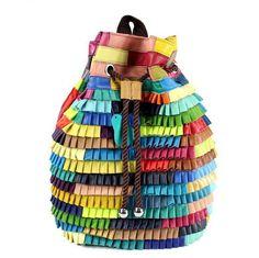 Genuine Leather Patchwork Sheepskin Drawstring Backpack