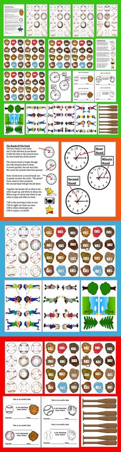 $ Telling Time Clocks Math Centers: Play Catch at 3 Levels- Match Baseball Clocks to Digital Times in Gloves + Original Poem - 31  Page Download - 2 Ways to Play  - Baseballs with digital times to the hour, half hour and five minute intervals match up to baseball gloves with clock faces.   Play as a simple pick a baseball game or as a magnetic game with bats that have magnetic tape on the end as described.