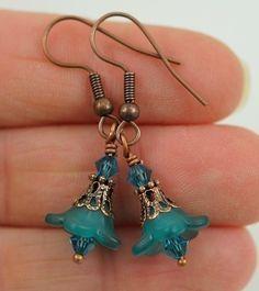 Drop Earrings Dangle Earrings Teal EarringsBead Earrrings . Petite Lucite Flower Earrings with Swarovski Crystals. Costa Rica in Teal